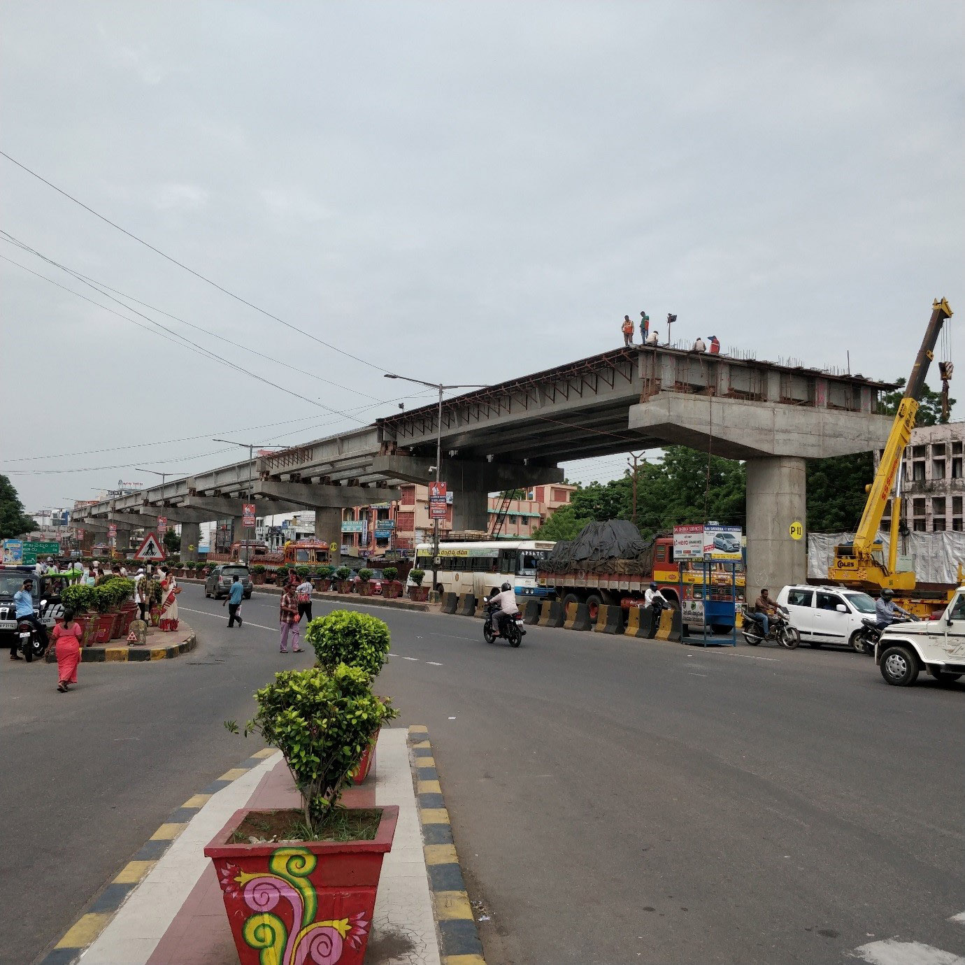 Benz Circle flyover under construction