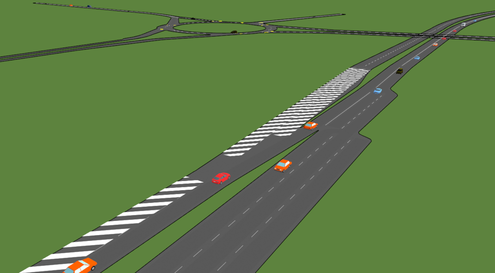 Paramics Microsimulation used to test a contraflow system near Glasgow